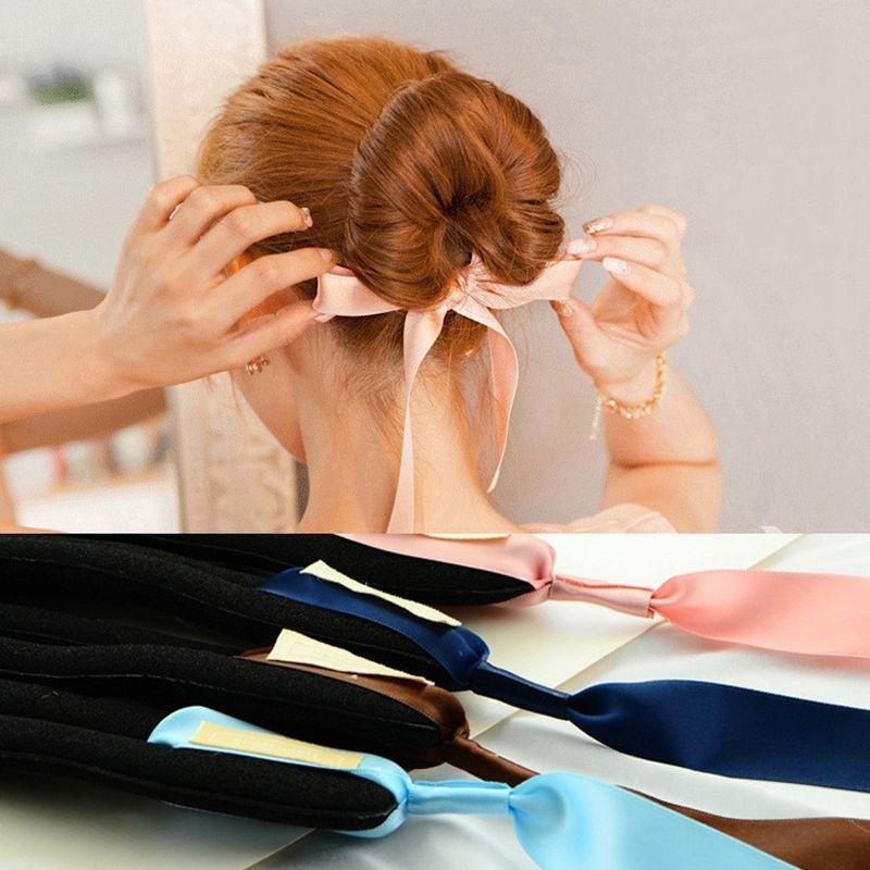 1 PC Fashion Women Magic Tools Foam Sponge Device Quick Messy Donut Bun Hairstyle Girl Hair Bows Band Accessories Silk Headband(China (Mainland))