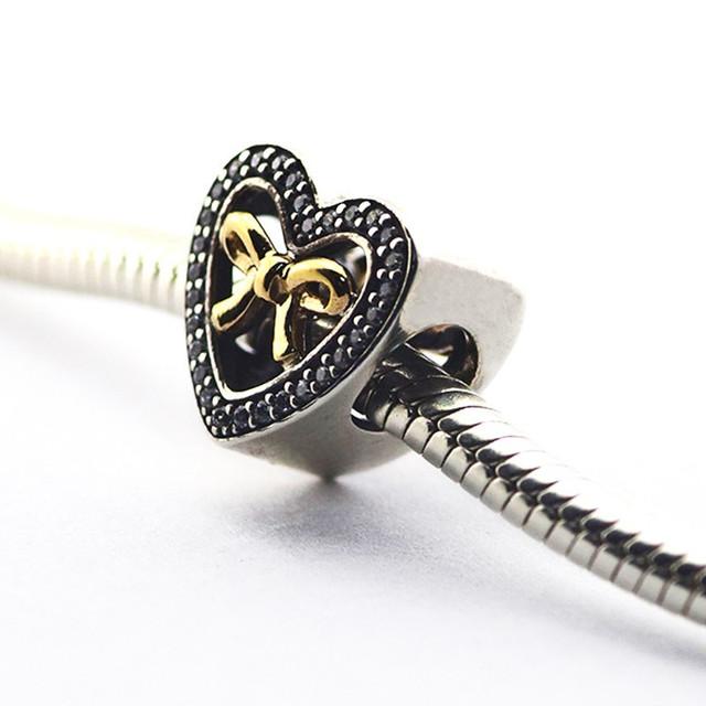 Новый подходит пандора браслеты оригинал 925 - серебро бусины связанные любовь шарм с 14 К золотые DIY ювелирные оптовая продажа