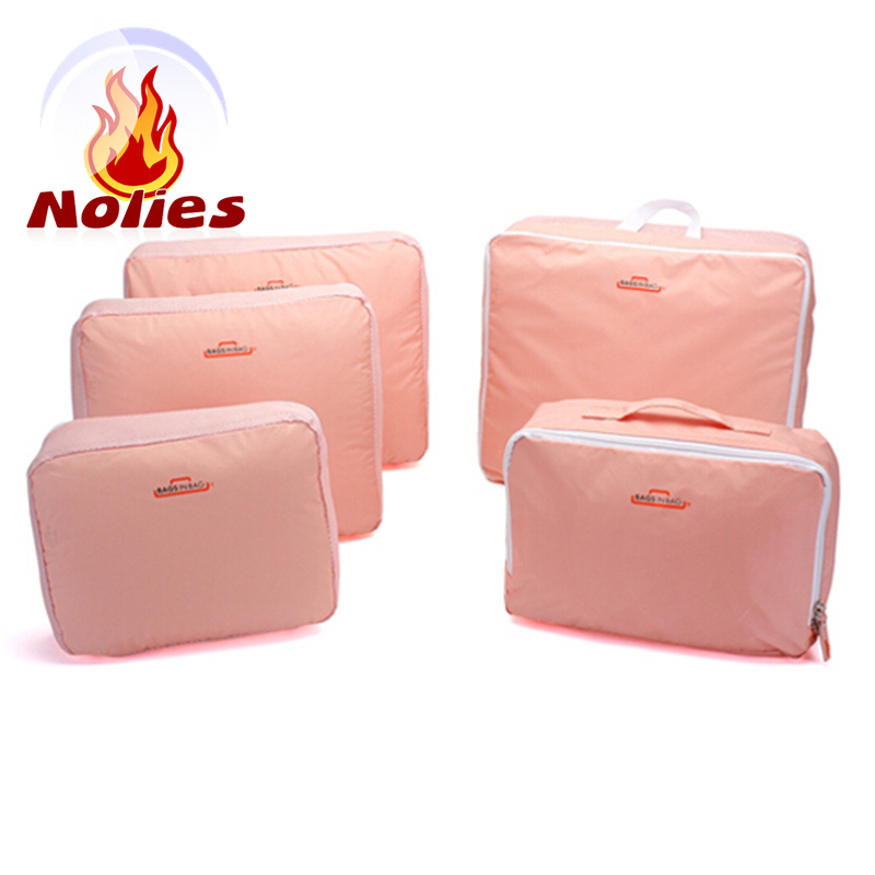 2016 women bag 5 suit Travel Storage Bag Clothes Organizer Pouch Suitcase Handbag Case Red Blue Pink Gray makeup cosmetic bag(China (Mainland))