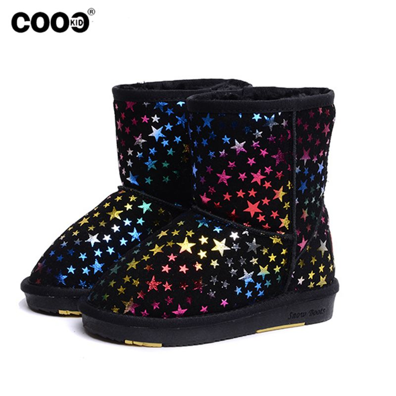 Warm Plush Winter Boots Children Snow Boots For Girls Boys Stars Light Toddler Boots Winter Kids Shoes Chaussure Enfant B26(China (Mainland))
