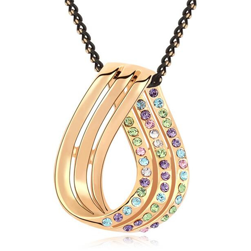 couple necklace crystal love knot pendant gold plated
