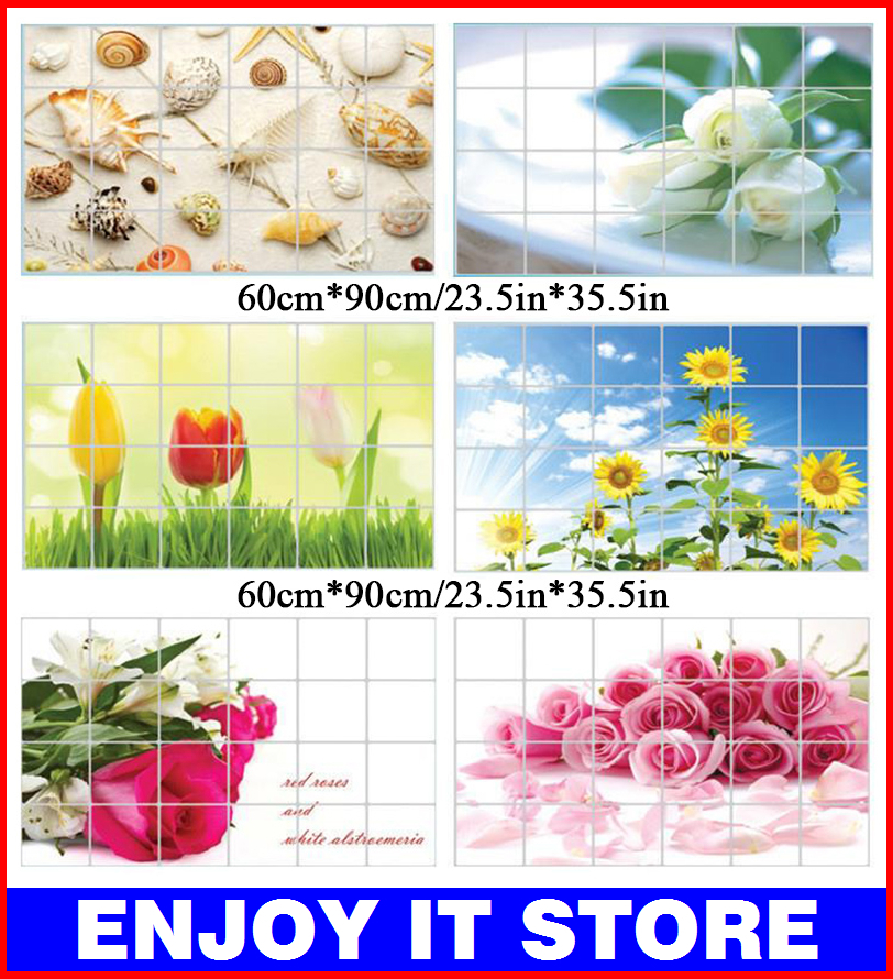 WS087 Large Size Korea Aluminum Copper Waterproof and Oil Sticker Kitchen Wall Stickers adhesive poster For Home Decor(China (Mainland))