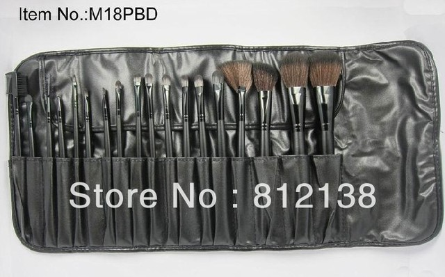 High quality !! free shipping:18Pcs  Professional Cosmetic make up black  Brush set  + leather Pouch