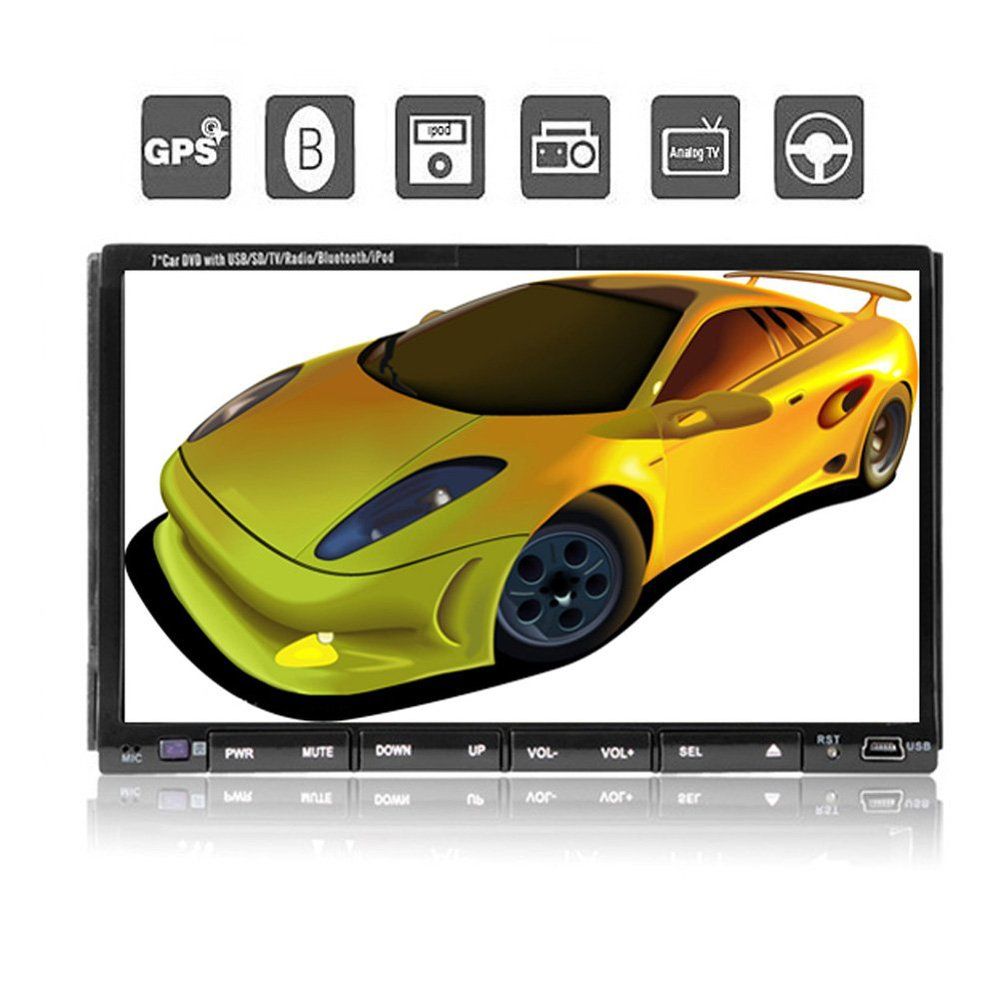 2 Din Car Dvd Player PC GPS Navigation Stereo Video Multimedia Digital Touch Screen Universal 7 Inch Head Unit Double BT(China (Mainland))