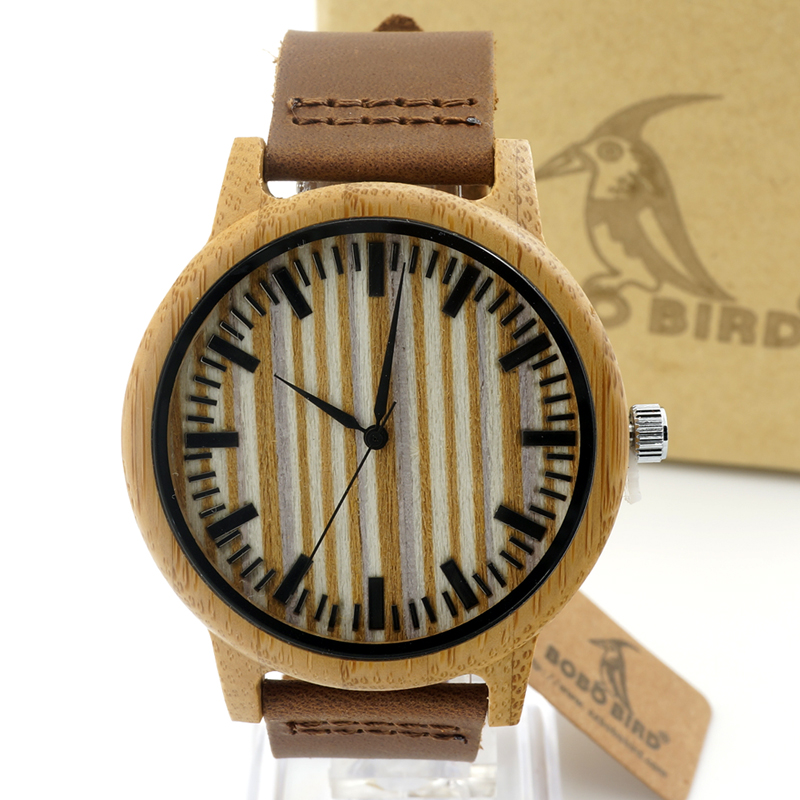 ZR061 Bamboo watch wood dial face leather band quartz watches for men women Christmas gift accept customization OEM<br><br>Aliexpress