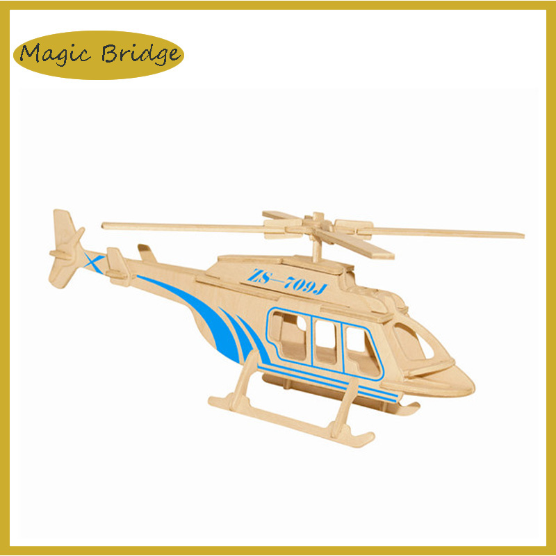 Cool 3D Jigsaw Helicopters puzzle Wooden model kids funny educational DIY toys Simulation games free shipping(China (Mainland))
