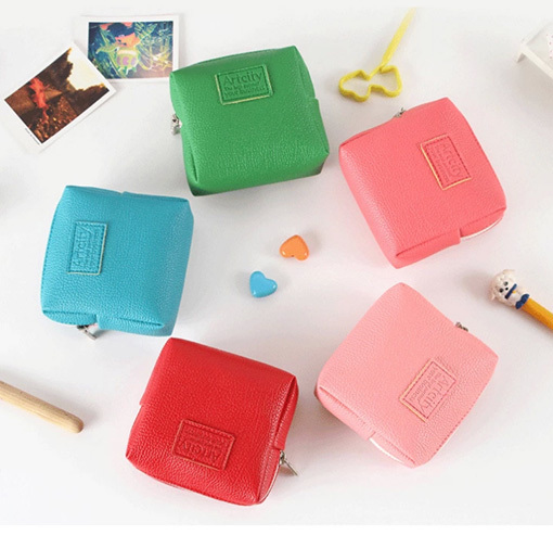 2015 Real Hot Sale Square Ladies Women Color Handbag Leather Multifunctional make up cosmetic bags small bag(China (Mainland))