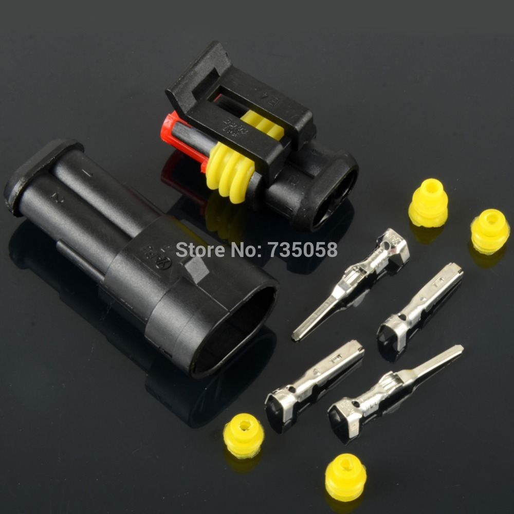 10pcs/lot 2Pin Way Sealed Waterproof Electrical Wire Connector Plug Car Auto Kits VE027 P50(China (Mainland))