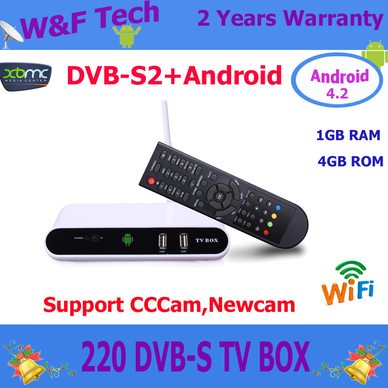DVB-S2 android tv box Digital Video Broadcasting Satellite Receiver Aml 8726MX 1G/4G XBMC WiFi Android 4.2 TV Box TV220 DVB-S2(China (Mainland))