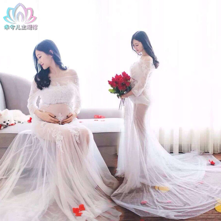 Maternity Lace Gown Trailing Dress Elegant Photography Props Fancy Pregnancy Photo Pregnant Studio Clothing Dress