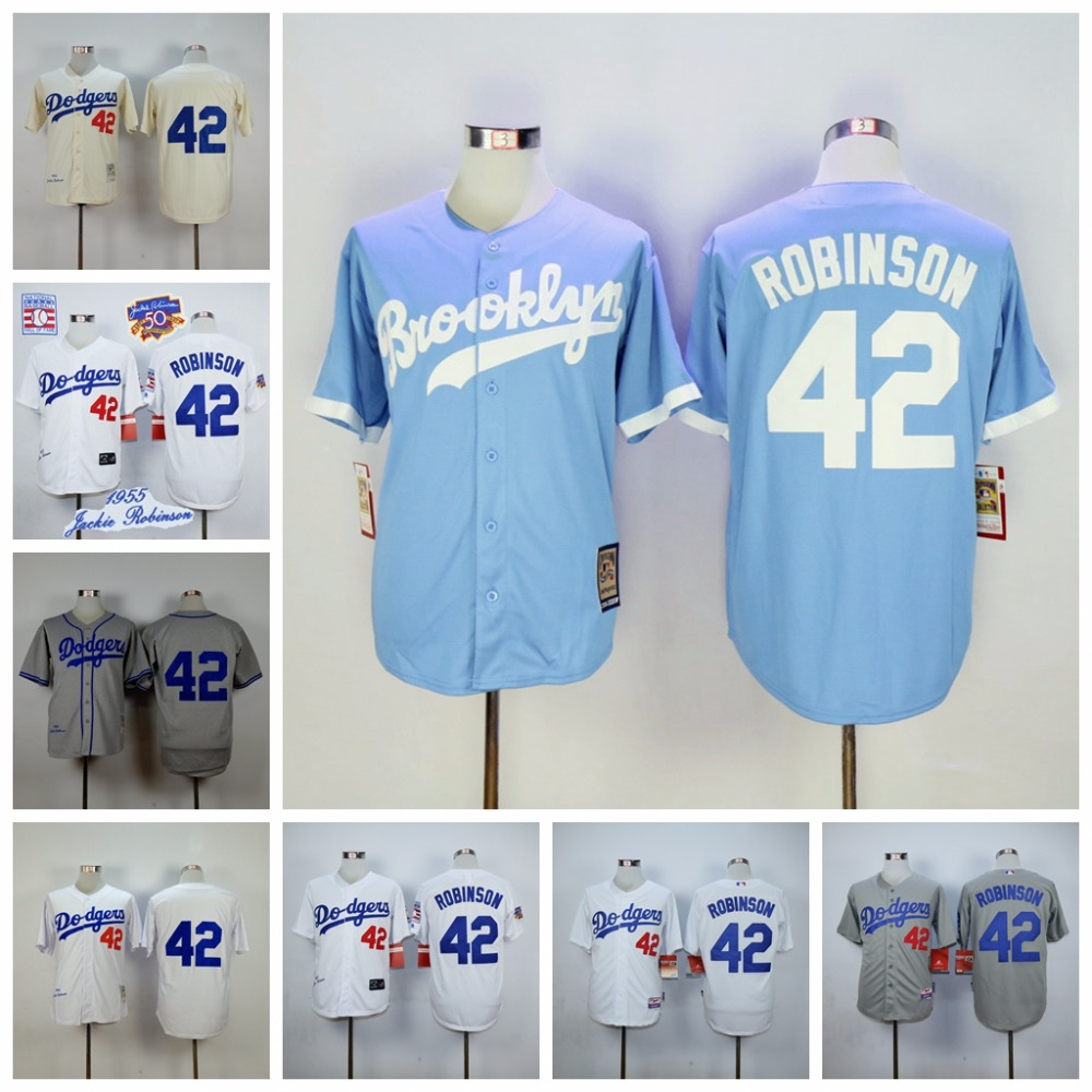 Los Angeles Dodgers 42 Jackie Robinson Throwback Jerseys  Embroidery Stitched Shirt Baseball Jersey Gray Free Shipping<br><br>Aliexpress