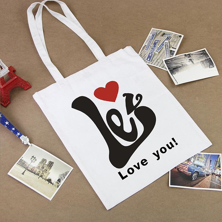 2015 Large Love reusable grocery canvas tote bag fashion designer handbags women foldable shopping bag eco shopping bag baggu(China (Mainland))