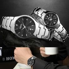 Lovers' Tungsten Steel Watches Couple Luxury Fashion Business Men Full Steel Watch Quartz Waterproof Women rhinestone watches