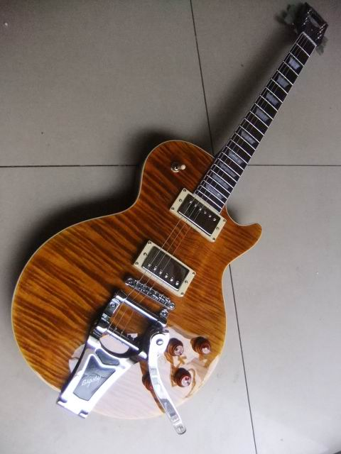 New musicman LPStandard electric guitar with nbridge bigsby In Best Brown burst free shipping Musical Instruments 110315(China (Mainland))