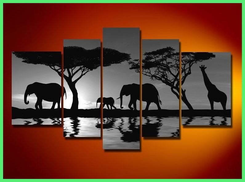 Framed 5 panel large africa painting black and white Black and white canvas art
