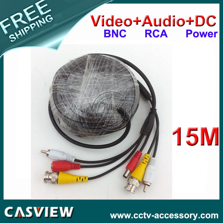Free shipping 4PCS 15M 50FT Cable BNC Video DC Power RCA Audio All in one CCTV Camera DVR Security Extension wire(China (Mainland))