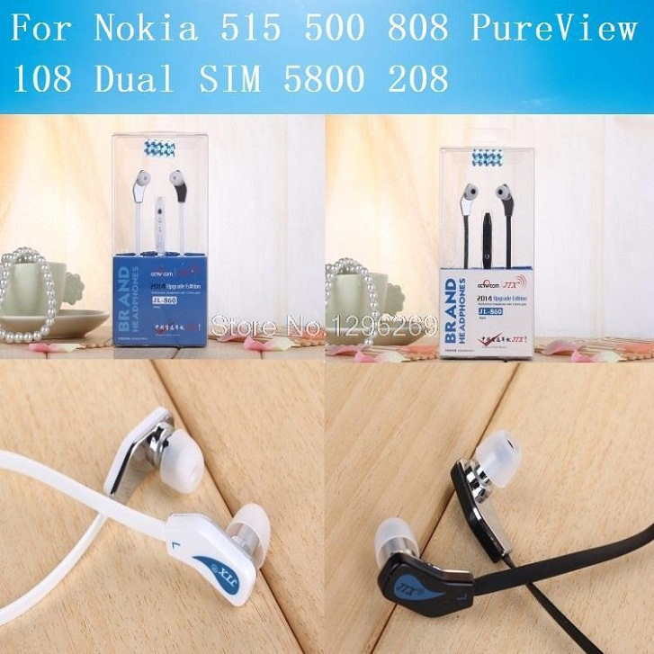 For Nokia 515 500 808 PureView 108 Dual SIM 5800 208 3.5mm Jack Stereo Volume Mic Microphone in-Ear Headphone Headset Earphone(China (Mainland))