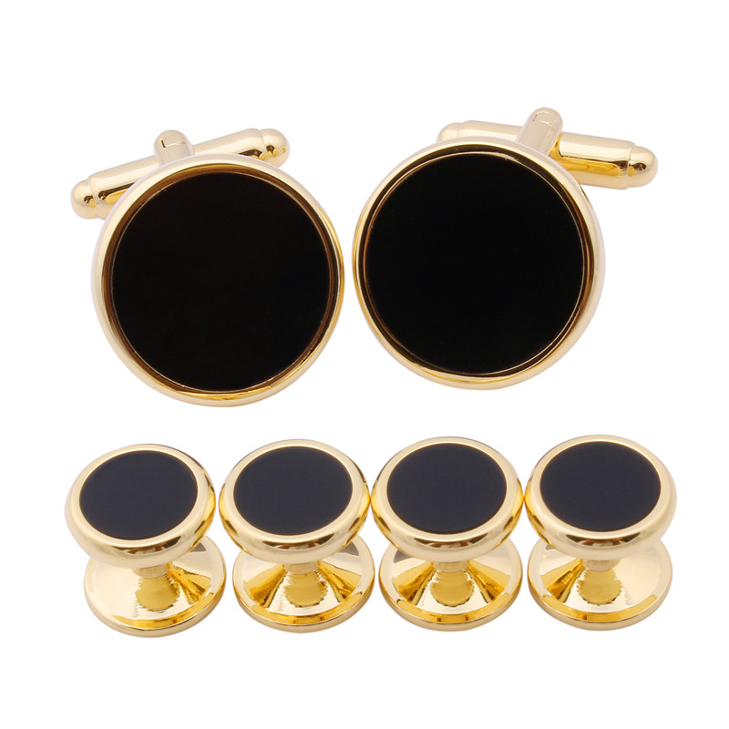 1 Set Gold Plated With Shinny Black Enamel Combined Men's Shirts Jewelry Stud Set & Cuff links(China (Mainland))