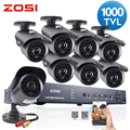 ZOSI 8CH HDMI 960H DVR 8pcs 1000TVL IR Home Surveillance Security Cameras CCTV System with 1TB HDD