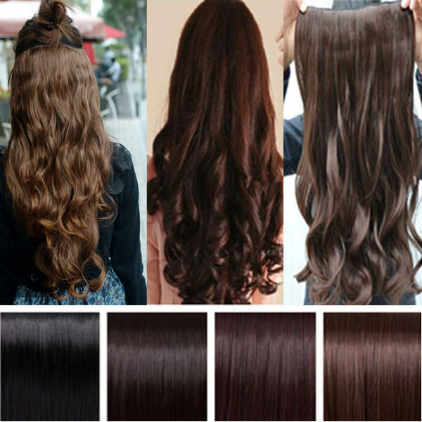 Real Thick Clip on Hair Extension Curly Wavy 27inch 68cm 145g 5clips Synthetic Long Lady Women Clip in Synthetic Hair Extension(China (Mainland))