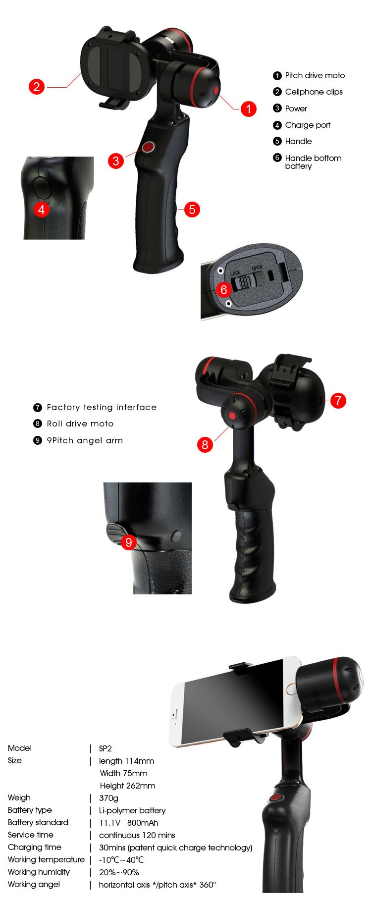 Wenpod SP1+ Smartphone Gimbal Stabilizer Handheld Gimbal 360 Degree for Brand Smartphone