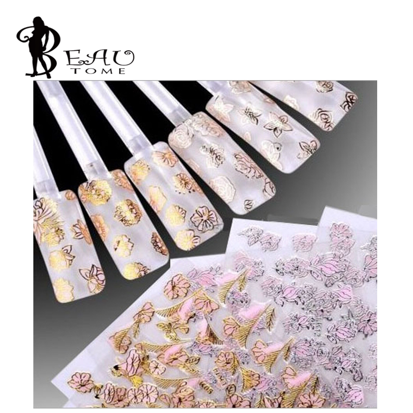 Beautome 3D Nail polish sticker decals phototherapy pink flower applique pink gold / silver powder for UV gel nail decorations(China (Mainland))