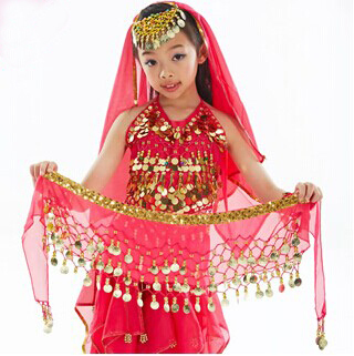 Hot-selling Kids belly dance Hip scarf Belt with 3 Row gold coins on dancing Belt fully hand-made sewed(China (Mainland))