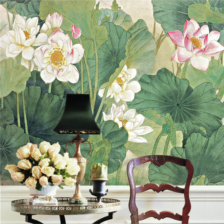 elegant lotus painting photo wallpaper chinese style wall