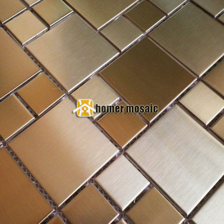 brush finished champagne golden color 304 stainless steel mosaic tiles kitchen ...