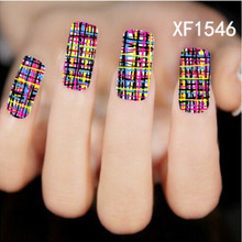 Free Shipping+Colored lines Pattern New Arrival Water Transfer Nail Art Stickers Decal(XF1546  Z)