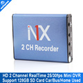 Mini Mobile DVR Recorder Support SD Card 128GB Real time 25fps 2Ch DVR MPEG 4 Video