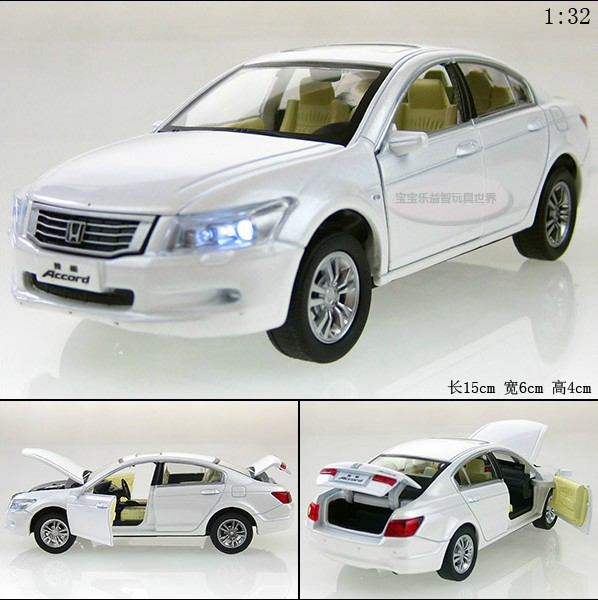 NEW 2015 New 1:32 Honda Accord Alloy Diecast Model Car Toys Vehicle gift With Sound & Light Collection White B2332(China (Mainland))
