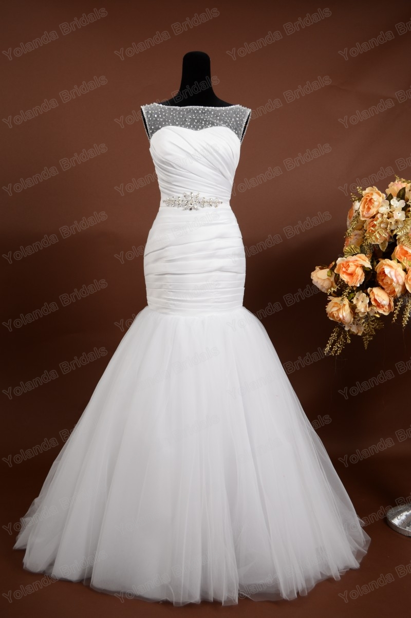 Hot sale elegant wedding gown pleated satin white mermaid for Satin low back wedding dress