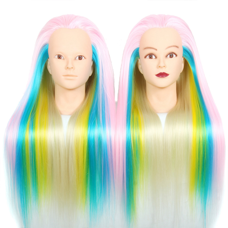 100%Synthetic Hair Mannequin Head Pink Blue Yellow Color Training Head Cosmetology Mannequin Heads For Hairdresser Manikin Head(China (Mainland))