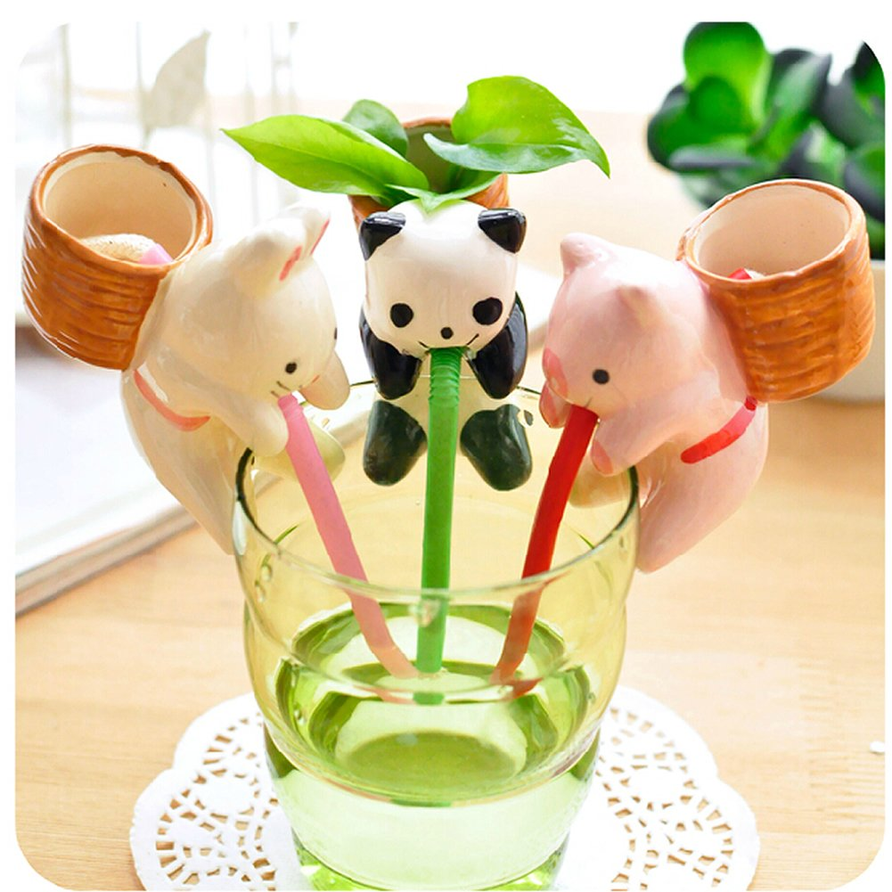 5 Pcs/Lot Wholesale Indoor Office Home Garden Self Watering Flowerpot Cute Animal Pot With Straw (Panda(Basil))(China (Mainland))