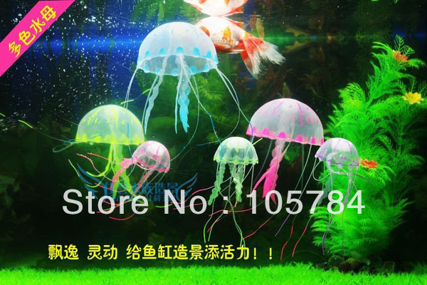Decorations glowing effect vivid jellyfish for aquarium for Garden pool ornaments