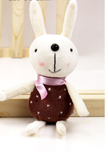 Hot Sale 12cm Height Lovely Rabbits for Pendant Soft Rabbits Toys Wedding Mini Stuffed Animals Stuffed Rabbits Toys(China (Mainland))