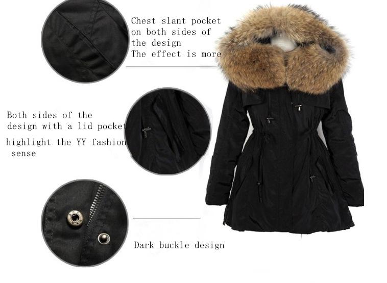 Скидки на 2016 Зима Новый Корея Ветровки Женщины Плюс Размер С Капюшоном Мех Енота Черный Пальто Оснастки Хлопка Куртки