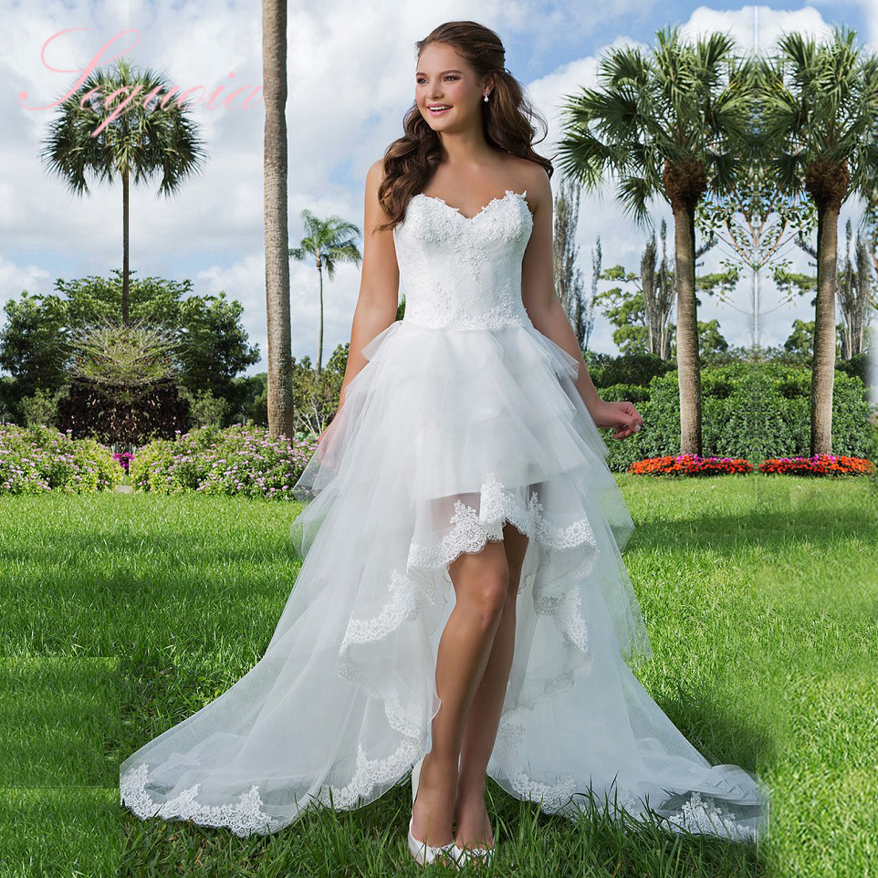 Bridal custom made sweetheart high low wedding dress short for Short sweetheart wedding dress