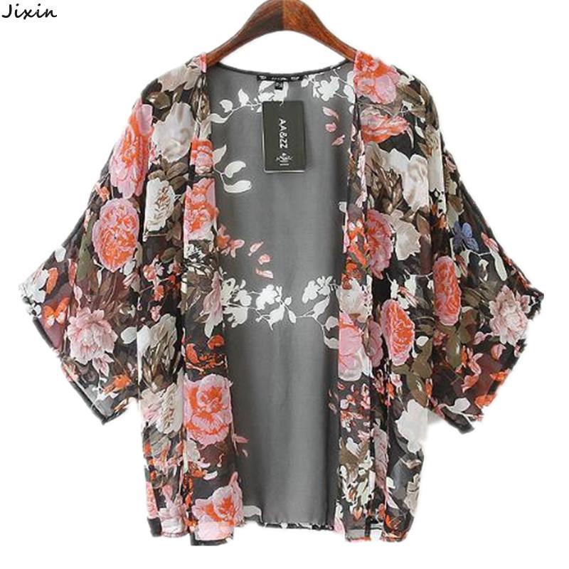 Women Tops Fashion Chiffon Floral Blouses Shirts Kimono