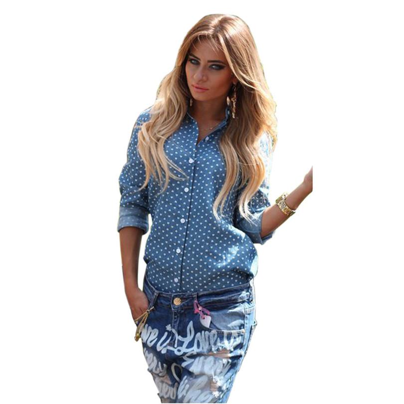 Прочный женщины топы 2015 новое поступление женщин дамы синий свободного покроя с длинными рукавами блузки Vestidos для Camisas