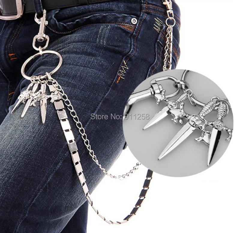 New Men Street Boy Jeans Chain Double-layer Cross Pattern Mens Waist Chain Unqie Metel Hip Hop Belt Chain FS3167(China (Mainland))