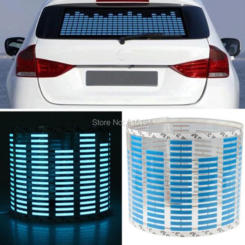90 cm X 25 cm Blue Flash Car Sticker Music Light Rhythm LED EL Sheet Lamp Sound Music Activated Equalizer car Stickers(China (Mainland))