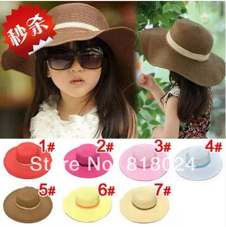 10 шт. / много стиль девочки-младенцы солома ультрафиолетовый солнцезащитные головные уборы Sunhats для детей большой широкий краев пляж шляпа дети шапки