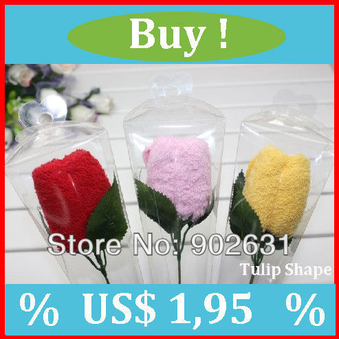 For Valentine Day Gift~Free Shipping/Accept Credit Card 90pcs Many Colors Sweet tulip towel valentine day gifts lover flower