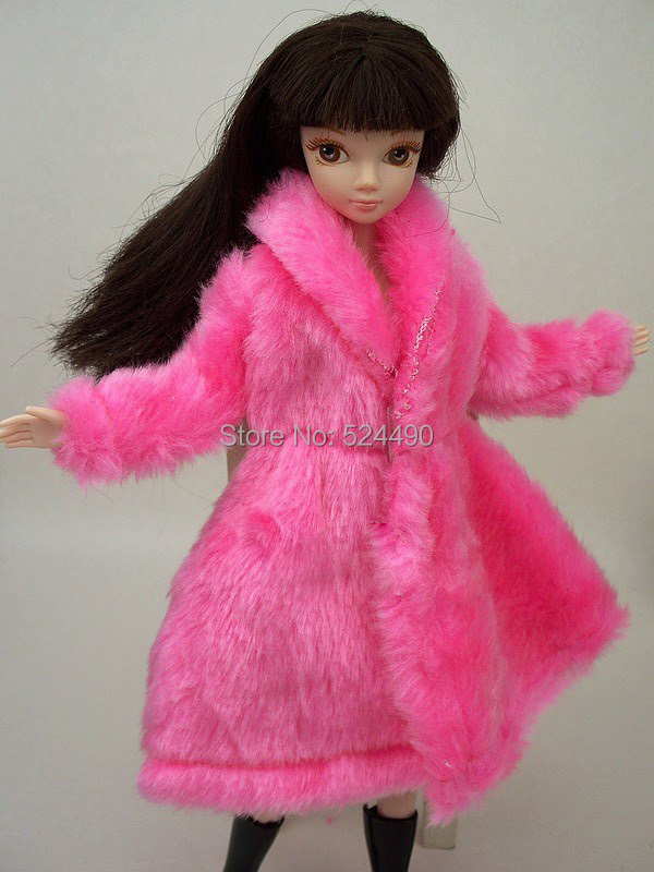 New Design 2016 Pink Rose Blue White Plush Coat Winter Wear Dress Snowsuit Clothing Outfit Clothes For 1/6 Toy Barbie Doll