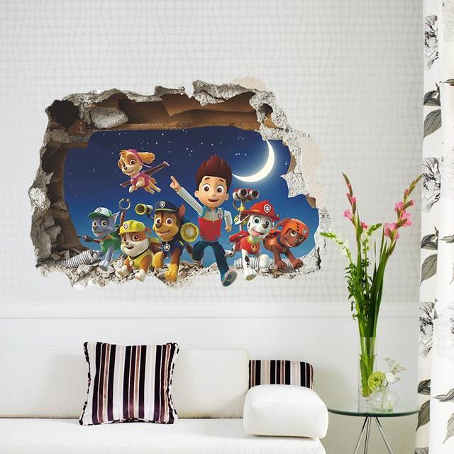Мультфильмы через стены стикеры искусства для детей 3d обои мальчика декор 1482 подарок детская украшения дома