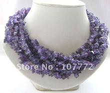 "Beautiful 18"" 8row natural amethyst chip necklace free +shippment(China (Mainland))"