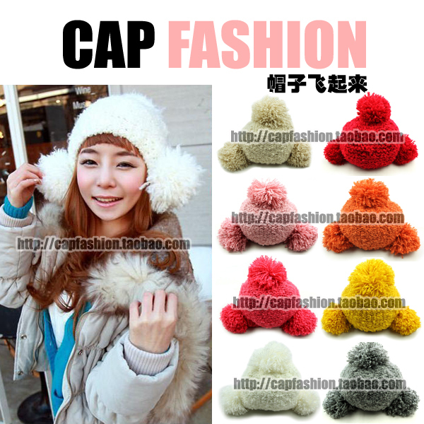 Roll roll fur ear protector cap lei feng cap sphere knitted hat winter knitting wool cap