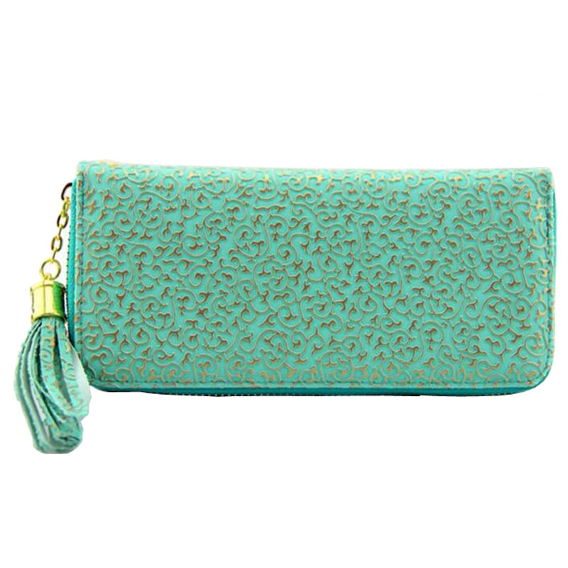 Women Wallets Female 2016 Zipper Around Clutch Purse PU Leather Floral Coin Purses Holders European Ladies Clutch Wallets(China (Mainland))